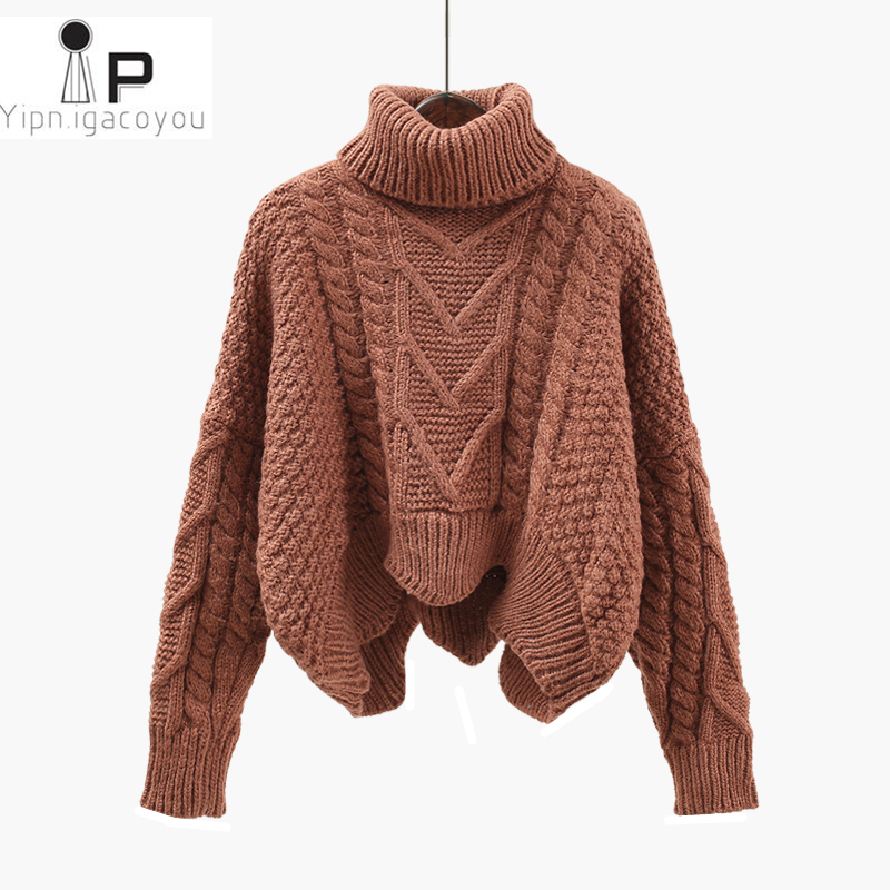 Thickened Sweater Women Autumn Winter Tops Korean Style Loose Twist Knitted Short Design Pullover Turtleneck Black Brown Female