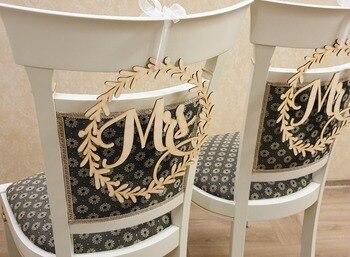 Mr & Mrs 2 Teile/satz Holz Stuhl Zeichen Rustikalen Rechts Vintage Hochzeit Dekoration Für Bräutigam Und Braut