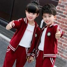 6f88f14a74cf1 Niños uniformes escolares ropa conjuntos de ropa deportiva niñas  adolescentes deportes trajes traje Chaquetas Pantalones chándal