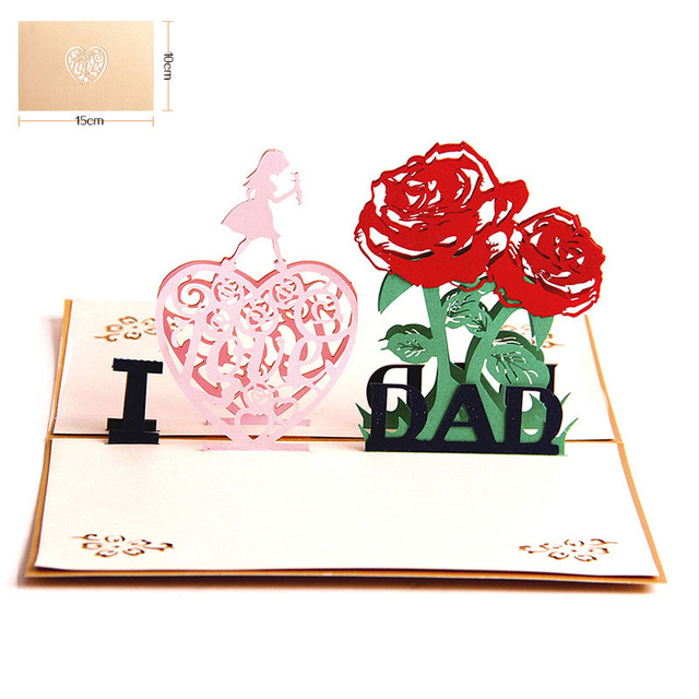 3d laser cut handmade show heart girl i love dad blessing greeting 3d laser cut handmade show heart girl i love dad blessing greeting card fathers day daddy m4hsunfo