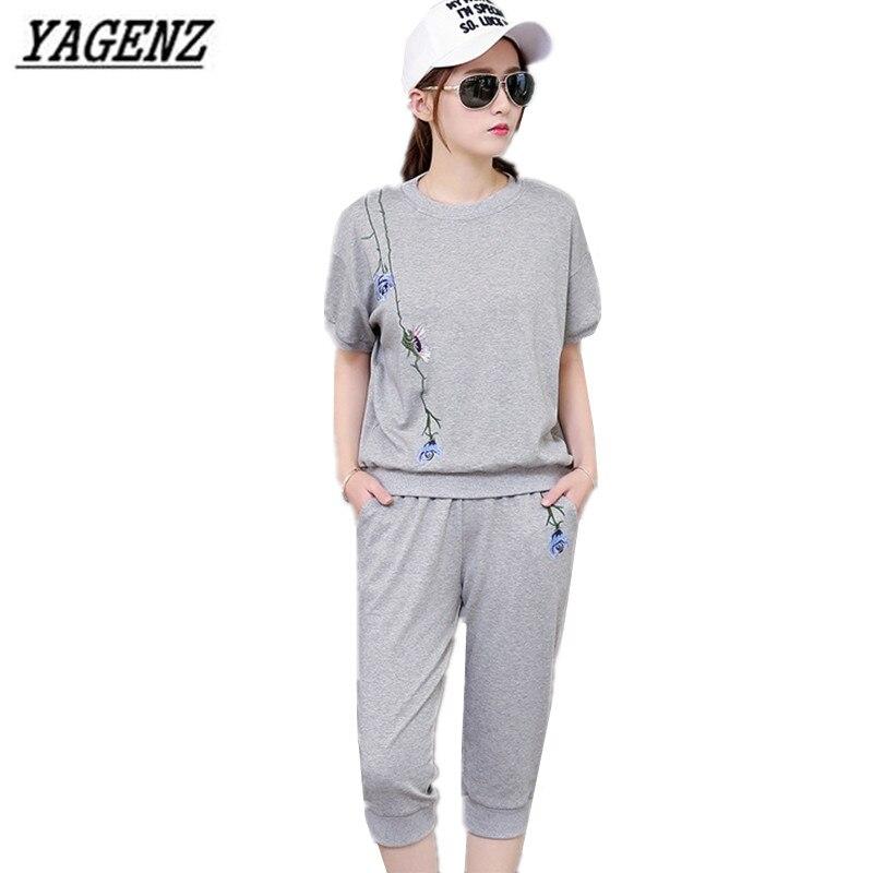Femmes Yagenz 2017 De Sport Piste Courtes Sportives Ensembles Pantalon Mode À Manches D'été Broderie white Costumes shirt 2 Gray 2xl pink Pièce T EqfrEwC5