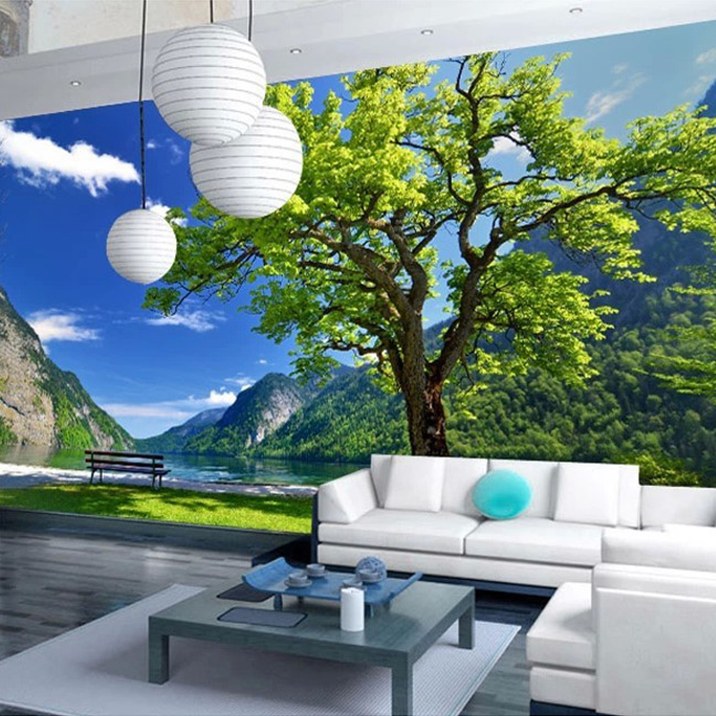 Custom Wallpaper Wall Mural Natural Scenery Chinese Style Painting Large Mural Park Landscape Mountains And Water For Study Room no frame canvas