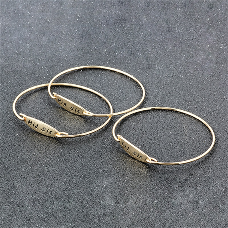 Bespmosp Gold Silver Plated Big Mid Middle Little Lil Sister Sis Trendy Bangle Bracelet For Women Girls Jewelry Family Hot Gifts