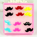 Free Shipping Factory Wholesale  Directly Hot Selling Cheap Resin Mustache Design Anti-allergy Plastic Stick Stud Earring 60pair