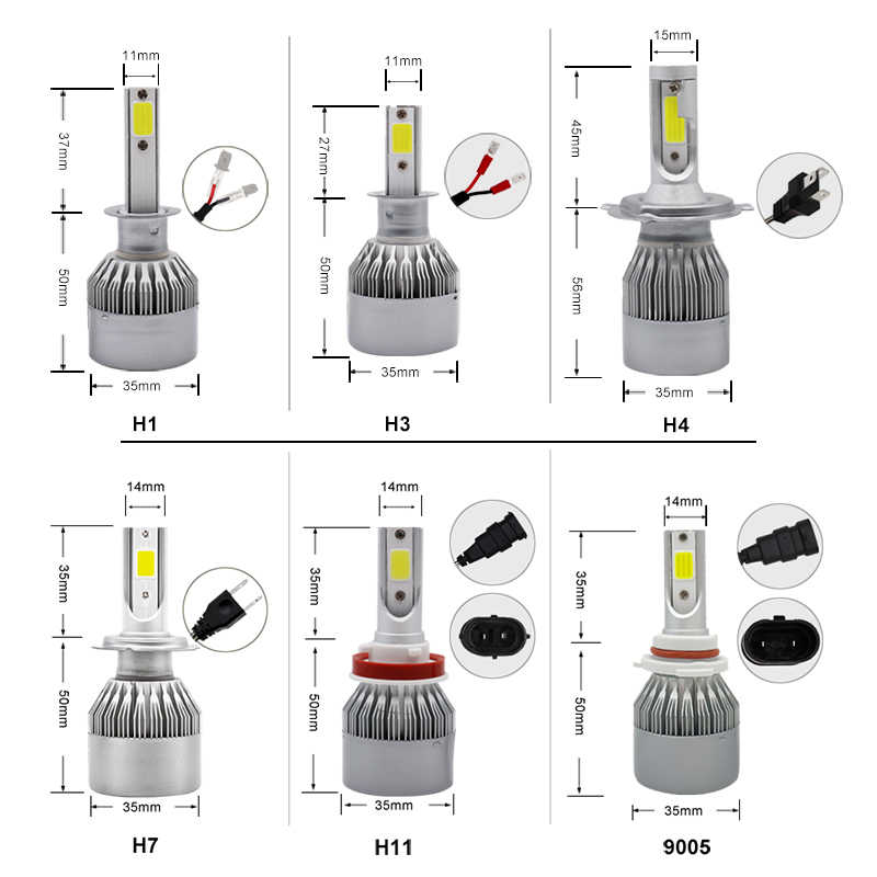 2PCS 12V Headlight Kit H7 LED H4 H1 H11 9005 Hb3 9006 Hb4 Light Bulb 12V 36W COB 3800LM 6500K C6 Headlamp Bulbs Fog Lamp For Car