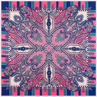 100x100cm Vintage Pink Geometric Vertical Large Cashew Flower Print Scarf Women NEW Bandana Femal Square Scarves