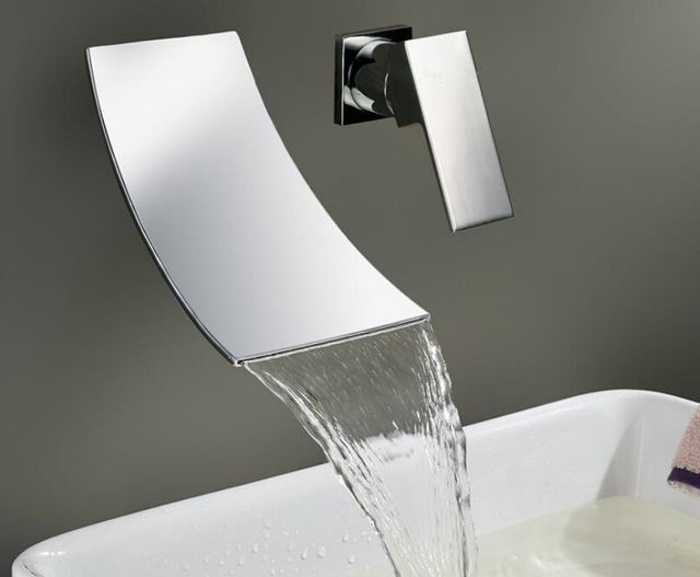 Bathroom basin faucet Chrome Brass Spout Vanity Sink Mixer Tap Wall Mounted Waterfall Bathroom Faucet