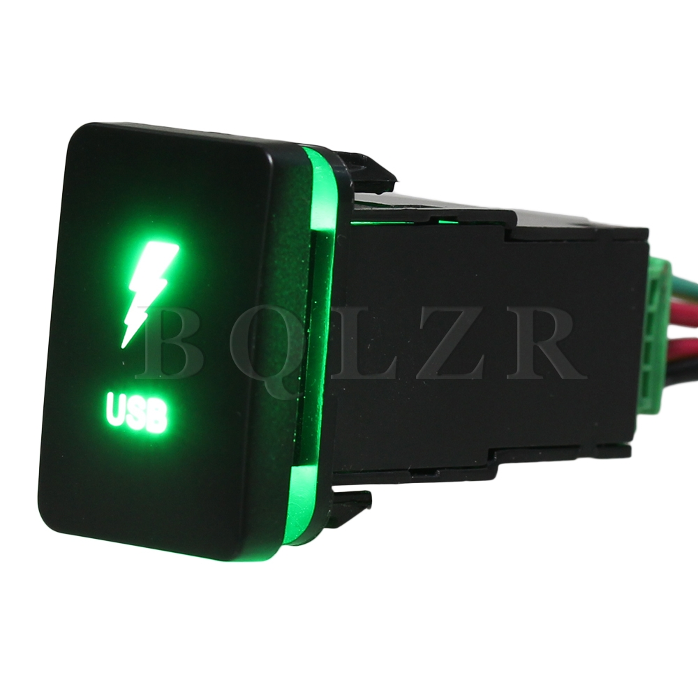 BQLZR Push Switch Harness S-NT USB Toggle Switch Double Green PatternS-NT USB ON-OFF Switch for Toyota bqlzr dc12 24v black push button switch with connector wire s ot on off fog led light for toyota old style