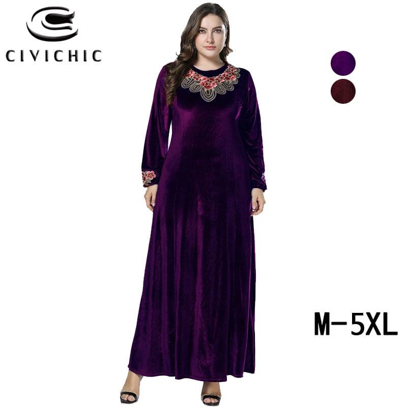 CIVI CHIC grande taille longues Robes Femme broderie florale femmes Maxi robe hiver flanelle velours fête Robes Vintage robe DRS246