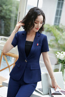 Elegant Navy Blue Formal Uniforms 2 Piece With Jackets And Pants For Women 2018 Summer Fashion