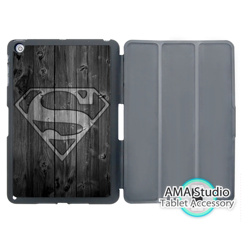 Superman On Wood Print Case For Apple iPad Mini 1 2 3 4 Air Pro 9.7 Stand Smart Folio Cover showcase presents superman volume 4