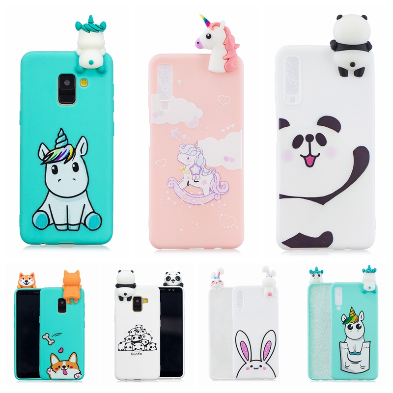A7 Case on for etui Samsung Galaxy A7 2018 Phone Case 3D squishy Panda Unicorn Pig Silicone Cover for Samsung A7 2018 A750 Funda