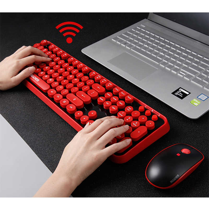2 4G Wireless Gaming Mouse Keyboard Combo Round Button