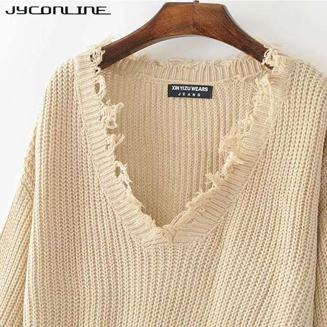 39faa5ad08 JYConline Sexy Knitted Sweater Women Jumper Black White V-neck Ripped Pullover  Sweater Pull Femme