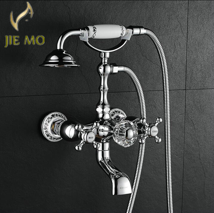 Chrome finish exposed bathroom shower faucet set Crystal handle ...