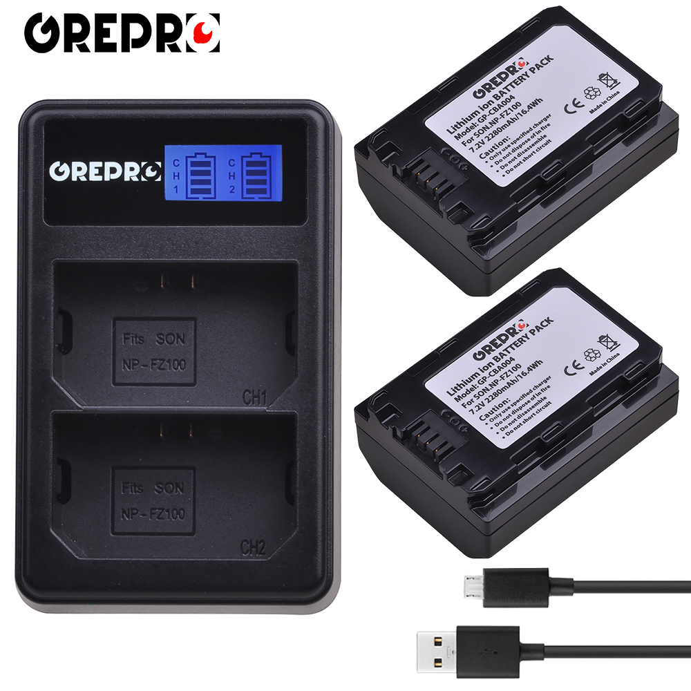 GREPRO 2 pcs 2280 mah NP-FZ100 NP FZ100 Caméra Batterie + LCD USB Chargeur pour Sony BC-QZ1, sony a9, a7R III, a7 III, ILCE-9 bateria AKKU