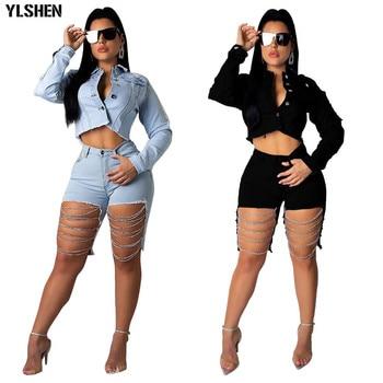 Plus tamaño 2, conjunto de dos piezas de las mujeres Sexy Denim cadena agujero trajes de chaqueta de chándal de manga larga Casual de Jean Tops y pantalones cortos trajes