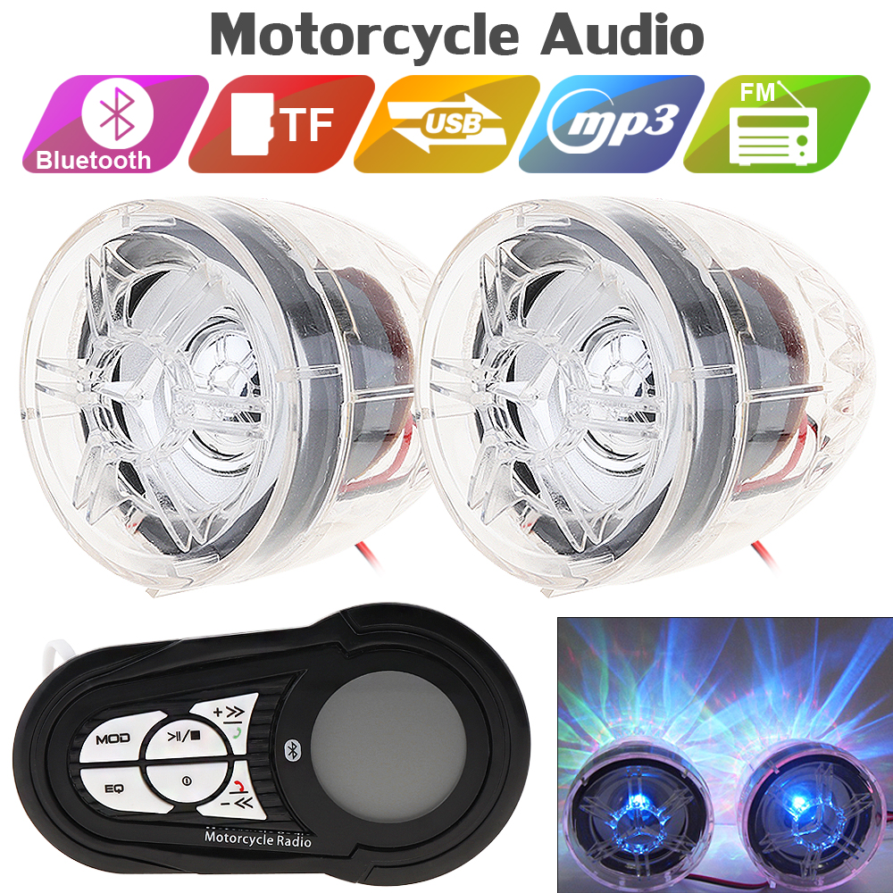 2pcs Motorcycle Waterproof Anti-theft Bluetooth MP3 Speaker Support AUX-IN Audio Input And USB / TF For Motorcycle And Scooter