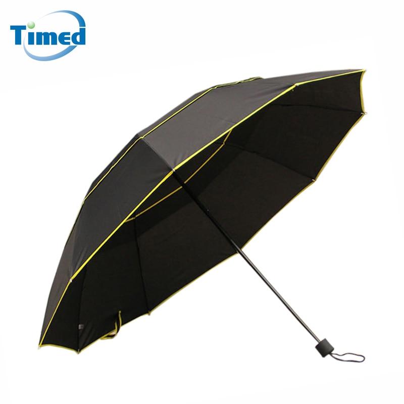130 cm Big Top Quality Umbrella Men Rain Woman Windproof Large Paraguas  Male Women Sun 3 Folding Umbrella Outdoor Parapluie f22141bb7b4