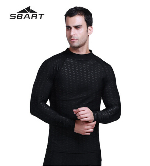 Sharkskin Swimwear dos homens Profissionais SBART Camisetas Mergulho Terno Swimsuit Surf Windsurf Wetsuit Natação Tops de Manga Longa