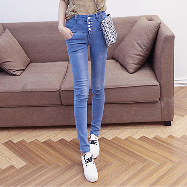 In the spring of 2016 new female high waisted jeans pencil pants feet long row stretch pants factory direct