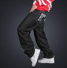 Мужчины Летние Свободные Мода Джинсы Письмо Украшенные Середина Талия Черный Цвет Багги Стили Полнометражный Молния Fly Denim плюс Размер Джинсы