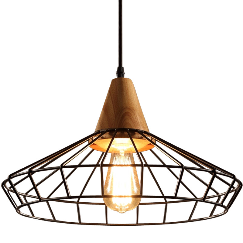 Loft Wood Pendant light Retro Hanging lamp iron cage lampshade pendant Lamps bar coffee dining room Home LED lighting fixturesLoft Wood Pendant light Retro Hanging lamp iron cage lampshade pendant Lamps bar coffee dining room Home LED lighting fixtures