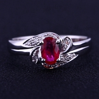 Estate Oval Natural Ruby Diamonds Solid 14k White Gold Fine Engagement Ring Women Wedding Ring