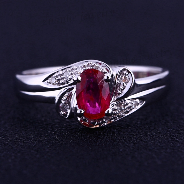Estate! Oval Natural Ruby Diamonds Solid 14k White Gold Fine Engagement Ring Women Wedding Ring
