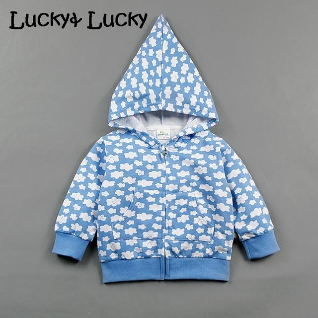Nuvens de algodão bebê camisola moda bebê moletom com capuz impresso roupas de bebê menino e menina