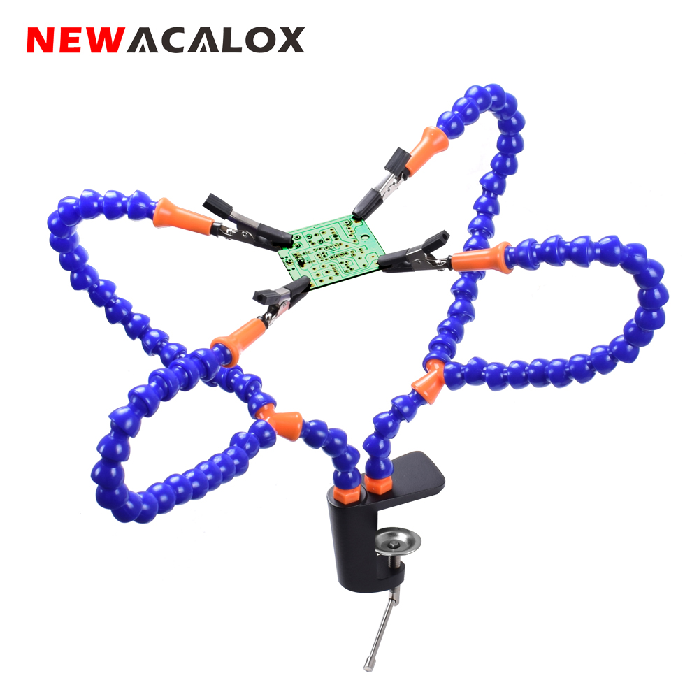 NEWACALOX Plastic Table Clamp Soldering Iron Holder PCB Fixture Helping Hands Soldering Station Welding Repair Tools Bench Vise