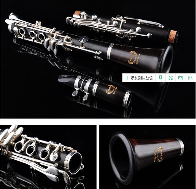 China Brand Ebony Wood Clarinet Bb Professional Playing Music Imported Ebony Clarinet Woodwind instrument excellence bb soprano clarinet bell ebony