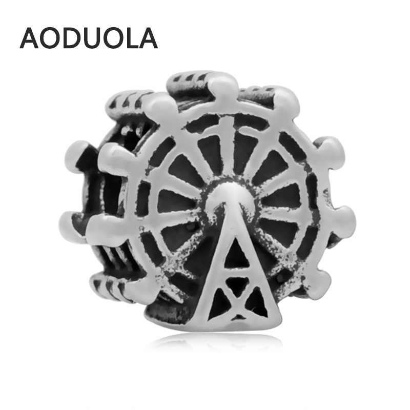 2Pcs Lot Stainless Steel London Eye Ferris Wheel Spacer Beads DIY Big Hole Bead for Jewelry Making Fit For Pandora Bracelet
