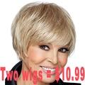 "2015New Females 8"" Short Blonde Wig Synthetic Hair Natural American Wig Cheap Kanekalon Realistic Wig Costume Cospaly Lolita Wig"