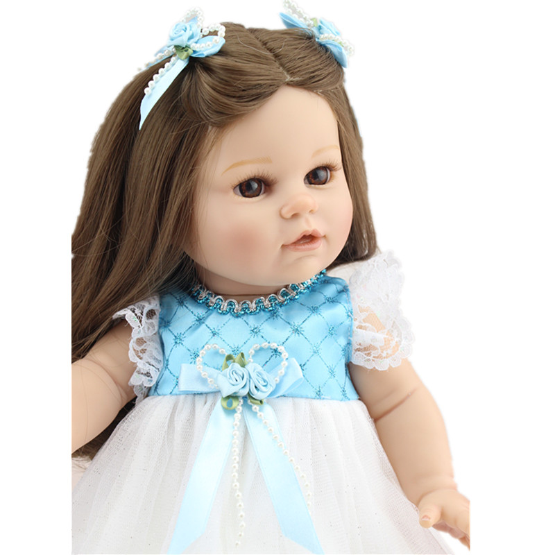 ФОТО Free Shipping 16 Inch/40cm Lifelike Baby Doll Handmade Silicone Reborn Baby Doll Vinyl Toddler Toys for Children Juguetes