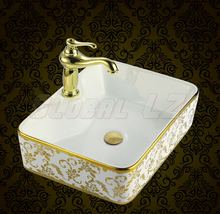 Elegant winnings square counter basin artistic wash washbasin golden