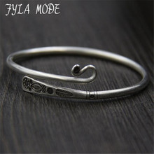 Fyla Mode Thailand Handmade 990 Sterling Silver Bracelet Flower Fish Engraved Carved Thai Silver Bangle 3.20mm 17.60G WTB070