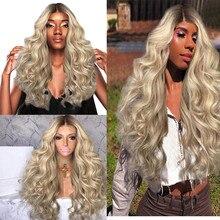 Perawatan Rambut Wig Berdiri Wanita Wig Emas Besar Gelombang Panjang Curly  Wanita Rambut Gradasi Emas Wig 70 Cm penuh Jan21 042e6487af