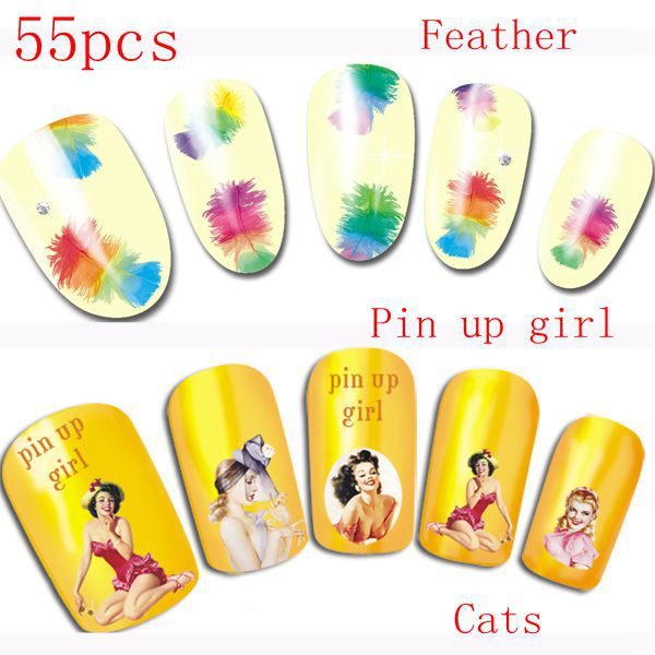 55pcs Fashion Water Slide Nail Decals Transfers Cats Pin Up Feather Stickers Toes
