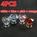 4 PCS Por Atacado de Cristal Maçaneta Da Porta Puxadores e Punho Modern Crystal Clear Transparente Acrílico Gaveta Puxadores Para Móveis