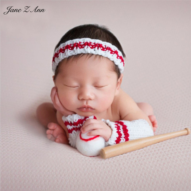 Jane z ann newborn photography props infant baseball costume outfit headwear arm covers ball