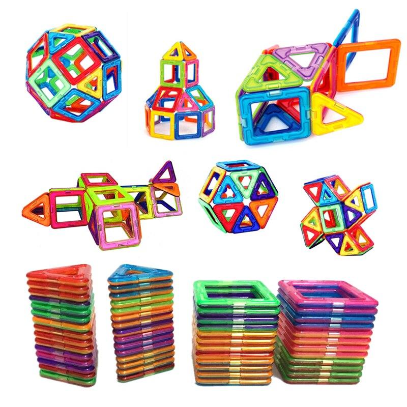 54 piezas bloques de construcción magnéticos de gran tamaño triangulo cuadrado de ladrillo diseñador iluminar ladrillos magnéticos juguetes pegatinas gratis regalo