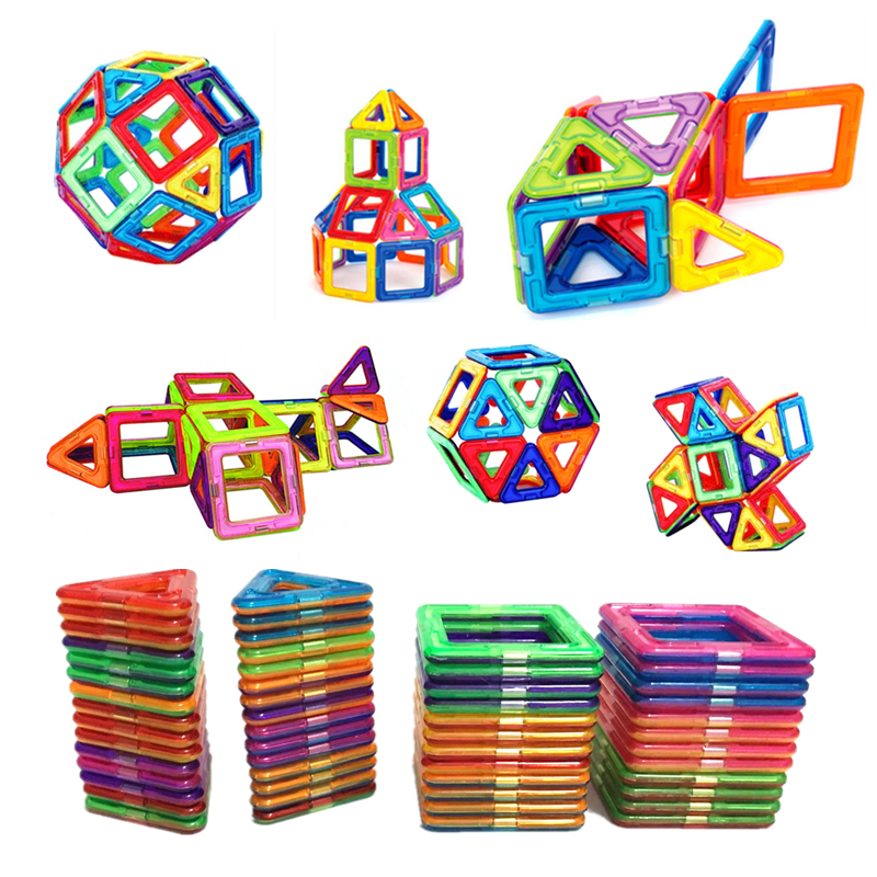 цена на 54pcs Big Size Magnetic Building Blocks Triangle Square Brick designer Enlighten Bricks Magnetic Toys Free Stickers Gift