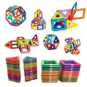 Image 1 - 54pcs Big Size Magnetic Building Blocks Triangle Square Brick designer Enlighten Bricks Magnetic Toys Free Stickers Gift