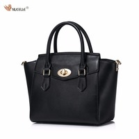 New NUCELLE Brand Design Fashion Cow Leather Composite Bag Lock Women Lady Handbag Shoulder Crossbody Wings