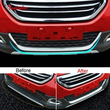 цена на Tonlinker Exterior Car Front bumper Cover Case Sticker for Peugeot 2008 2014-19 Car Styling 1 Pcs Stainless steel Cover stickers