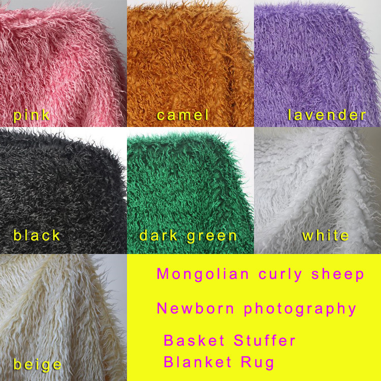 Մոնղոլական գանգուր ոչխարներ Faux Fur Fabric Newborn Baby Photography Props Faux Wool Basket Stuffer Blancet Rug Size 100x75cm