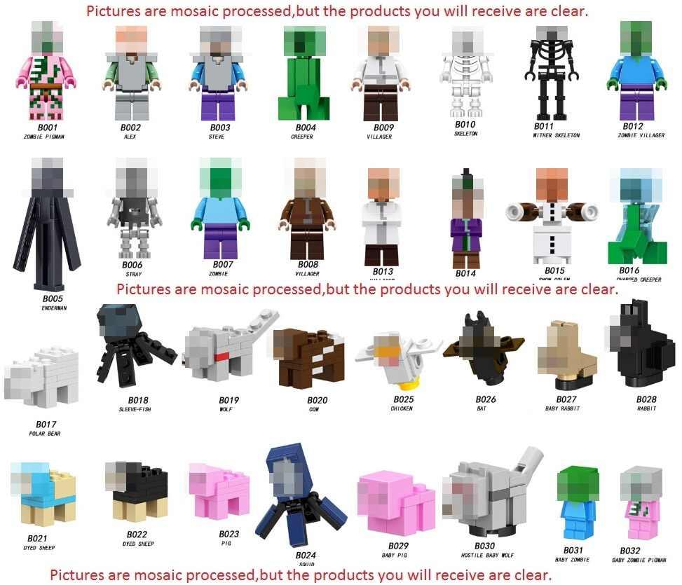 واحد بيع Minecrafted قروي الكسول ستيف عمل أرقام بناء كتل واحد بيع اللعب للأطفال Minecrafted كتلة