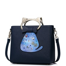 Women Cute Cat Cartoon Metal Handle Handbag Shoulder Strap Bag