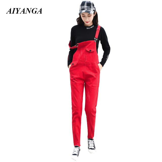 f72b4f0a4a97 Red Black 2019 Women Strip Jeans Spring Summer Overalls Denim Pants  elasticity Casual Jeans Female High Waist Jean For Women